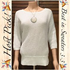 "HP! White Knit Sweater Offer $3 under list price so we can split the cost of shipping! NWOT! White knit sweater with slight high-low, scoop neckline, ribbed trim, 3"" slit on each side, and 3/4 sleeves. No holes, snags, or stains! Woman's size small. Still has plastic tag holder but no tag. Excellent never worn condition! ⭐️⭐️⭐️⭐️⭐️ ✅ASK QUESTIONS ✅Bundle ✅Offers ❌NO Trades ❌NO Off-site Transactions Liz Claiborne Sweaters"