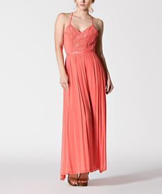 Look what I found on #zulily! Coral Lace Front Panel Maxi Dress #zulilyfinds