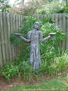 DIY Tutorial 'Bird Girl' Garden Sculpture made PVC and spray insulation from a can. Based on a real statue best known for being on the cover of the book, Midnight in the Garden of Good and Evil.