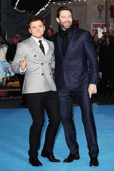 Taron Egerton and Hugh Jackman - London premiere of Eddie The Eagle, March 17th 2016