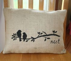 Bird burlap throw pillow. Would like print in white... Burlap Throw Pillows, Sewing Pillows, Linen Pillows, Decorative Pillows, Stenciled Pillows, No Sew Pillow Covers, Cushion Covers, Fabric Painting, Diy Painting