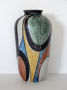 Ruscha Mid Century XL Milano Handpainted West German Vase by PasterCorte on Etsy