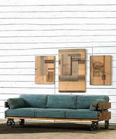 Old Train Depot Denim Sofa #zulilyfinds I love this rustic sofa! They have this same style in brown leather. Gorgeous!
