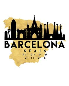 BARCELONA SPAIN SILHOUETTE SKYLINE MAP ART - The beautiful silhouette skyline of Barcelona and the great map of Spain in gold, with the exact coordinates of Barcelona make up this amazing art piece. A great gift for anybody that has love for this city. barcelona spain catalonia downtown silhouette skyline map coordinates souvenir gold