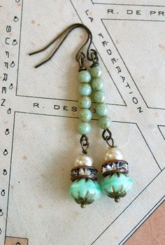 pearl,rhinestone,green beaded earrings by Tiedupmemories Beaded Earrings, Earrings Handmade, Handmade Jewelry, Gold Necklace, Earrings Photo, Turquoise Earrings, Turquoise Beads, Etsy Handmade, Beaded Bracelet