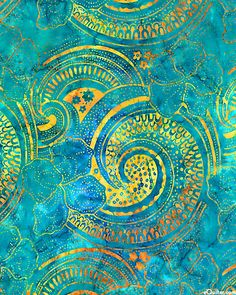 Here Comes The Sun Batik - Teal Turquoise Art, Fabric Stamping, Paisley Fabric, Beautiful Decoration, Travel Illustration, Paper Wallpaper, Old Paper, Letters And Numbers, Beautiful Patterns