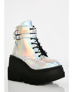 Club Exx Black Glitter Traitor Boots With Holographic Hearts | Dolls Kill Buckle Boots, Combat Boots, Wedge Boots, Bootie Boots, Shoe Boots, Holographic Boots, Rave Shoes, Underground Shoes, Creeper Boots