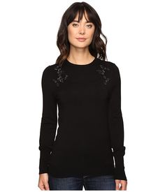 Ivanka Trump Long Sleeve Sweater with Jewels