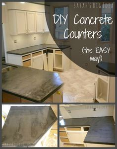 How to make concrete counters! - I am terribly tempted to try this. Hate my tile countertops and the kitchen at Hawk-Hill.com is so tiny it would be a cheap project!