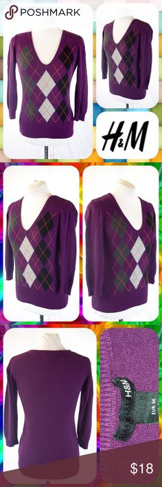 H&M Ladies Soft Purple Argyle Sweater Size M Super cute plum purple argyle sweater from H&M with v-neckline and ribbed hem. Soft and lightweight - made of a rayon/cotton blend. Size M or 6/8.   **Bundle with Another Item to Get 15% Off Automatically!** H&M Sweaters V-Necks