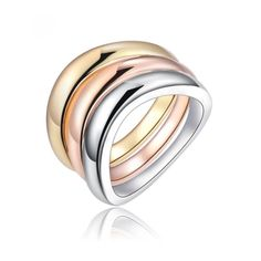 Mixed metal stackable rings 3 stackable rings with a waved design. Silver, gold, and rose gold. Nickel free.  Whole Sizes 6-9 available. Jewelry Rings