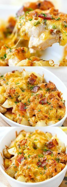 Baked Chicken and Potato Casserole – crazy delicious chicken potato casserole loaded with cheddar cheese, bacon and cream, easy recipe for the family   http://rasamalaysia.com