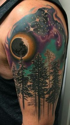 Tattoo design. Trees, eclipse stars