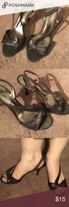 *1 DAY LEFT* Lulu Townsend heels Size 6 gunmetal sequined heels with strap detail. Very comfortable. Worn as a bridesmaid for a wedding once. Color is gunmetal. Original box. Price firm!! Lulu Townsend Shoes Heels
