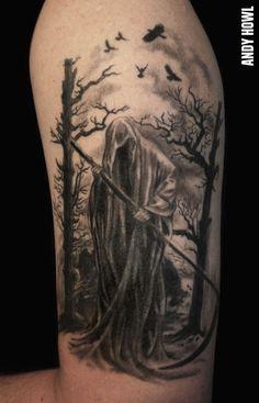 grim_reaper_in_shroud_tattoo_on_shoulder_by_howl.jpg (700×1091) Tattoo Images, Skull Tattoos, Wolf Tattoos, Body Art Tattoos, Gothic Tattoo, Dark Tattoo, Graveyard Tattoo, Angel Of Death Tattoo, Grim Reaper Meaning