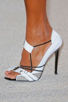 Anthony Vaccarello Spring 2013, #shoes, #whiteshoes #heels #opentoeshoe #designershoes