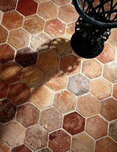 restaurant flooring_exquisite surfaces: Hexagon_Material: Antique Terra Cotta_Provenance: France_Antique hexagon terra cotta tiles from France in traditional colors Terracotta Floor, French Oak, Kitchen Flooring, Flooring Tiles, Floors, Kitchen Tiles, French Country House, French Farmhouse Decor, Flooring Options