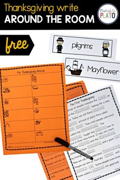 Check out this Thanksgiving write around the room! Get your early learners using holiday vocabulary while having fun learning all about Thanksgiving! A great writing center for Preschool, Pre-K, Kindergarten, or First Grade. #earlychildhoodeducation Kindergarten Writing Activities, Kindergarten Centers, Learning Centers, Math Centers, Fun Learning, Learning Activities, Preschool, Thanksgiving History, Thanksgiving Activities For Kids