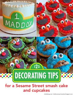 How to decorate a Sesame Street smash cake and cupcakes
