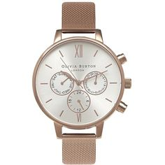 Olivia Burton Multifunction Leather Strap Watch, 38mm ($240) ❤ liked on Polyvore featuring jewelry, watches, stainless steel wrist watch, stainless steel jewellery, quartz movement watches, stainless steel jewelry and dial watches