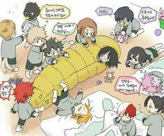 My Hero Academia characters, cute, chibi, Aizawa, Class 1-A, funny, text; My Hero Academia