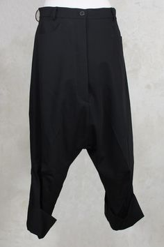 Drop Crotch Cropped Trousers in Black - Rundholz Mainline