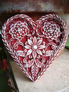 Red Valentine HEART Folk Art Springerle Wall Art Cast Stone Ornament Vintage Shabby Chic Primitive