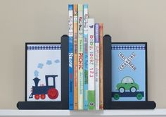 Wood Bookends . HAND BEVELED EDGE . Custom Bookends. Bookends . Name Blocks . pbk Pottery Barn Kids . Ryder Train Bedding. $56.99, via Etsy.