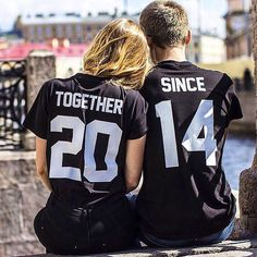 "COUPLES T-shirts set ""Together since"" set of 2 couple T-shirts custom couple shirts set of 2 couple shirts 100% cotton"