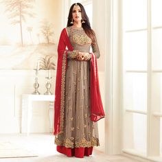 Buy Stylish Chiku And Red Partywear Designer Embroidered Anarkali Suit at Rs. 2299- Get latest Anarkali Suit for womens at Peachmode. ✓Genuine Products ✓ Easy Returns ✓ Best Pricing
