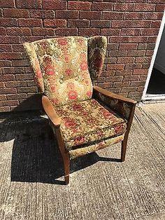 Vintage Wood Framed Upholstered Armchair Wing Back Arm Chair -teak Danish?  | eBay