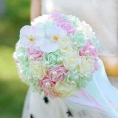 2017 Bridal Bridesmaid Wedding Bouquet  Green&Ivory&Pink Handmade Artificial Rose Wedding Flowers Bridal Bouquets