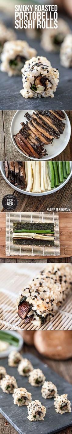 Smoky Roasted Portobello Sushi Rolls @FoodBlogs.com #FindMeOnFoodBlogs #sushi