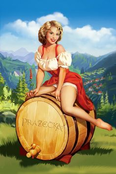 Beer Barrel Polka pin-up, artist Tatiana Doronina