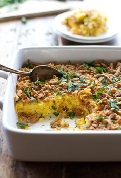 Corn Pudding with Crispy Onions and Herbs - perfect quick and easy side dish for Thanksgiving! | pinchofyum.com