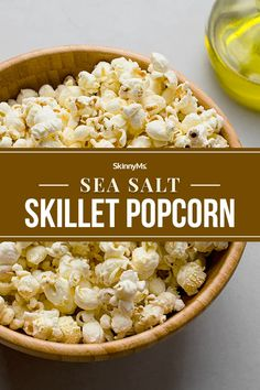 Sea Salt Skillet Popcorn Simple Recipes, Clean Recipes, Lunch Recipes, Diet Recipes, Savory Snacks, Yummy Snacks, Healthy Desserts, Healthy Recipes, Clean Eating Plans