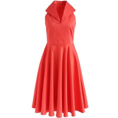 Chicwish Date with Glamour Sleeveless Dress in Coral ($55) ❤ liked on Polyvore featuring dresses, red, coral sleeveless dress, sleeveless dress, red sleeveless dress, no sleeve dress and red dress