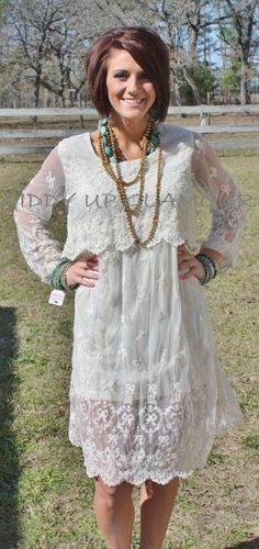 Giddy Up Glamour  Dreams In Cream Lace Dress  $56.95