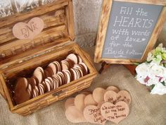 Fill the hearts with words of love for the bride and groom. sweet idea for a bridal shower.