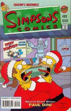 Homer Simpson and Comic Book Guy wearing the old Santa's suits. They got strangled and choked each other.