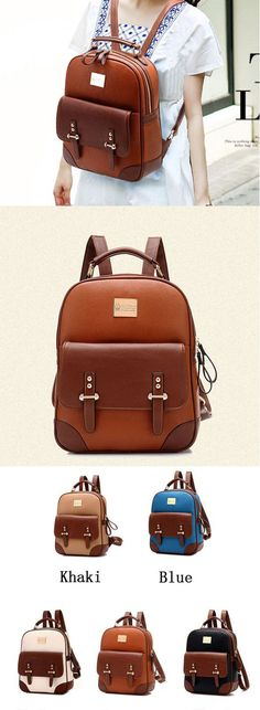 Which color do you like? British Preppy Retro Brown Leather School Backpacks #british #preppy #retro #brown #leather #school #backpack #bag #college #rucksack #fashion #student #girl