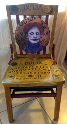 ☆ One of a Kind Mystic Ouija Board Chair :¦: Gothic Dead Dolls By D. Marian ☆ is creative inspiration for us. Get more photo about Home Decor related with by looking at photos gallery at the bottom of this page. Painted Chairs, Hand Painted Furniture, Funky Furniture, Repurposed Furniture, Unique Furniture, Gothic House, Halloween Crafts, Tarot Decks, Decoration