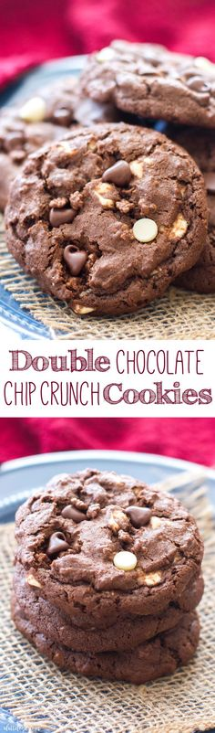 These rich double chocolate chip cookies are full of white chocolate chips, semi-sweet chocolate chips, and Nestle chocolate crunch bits! They are perfect for even the biggest of chocolate fans!