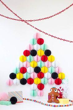 Bolas de papel para formar uma árvore