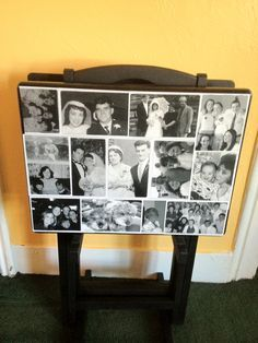 T.V Tables I made with old tables and black and white photos. Decoupaged on the table. One for his side of the family, one for my side of the family, friends and one for our family. Love how they came out.