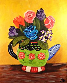 Whimsical Tea Pot Floral Painting Flowers Whimsy Art 16x20 Stretch Canvas by artist Jennifer Harris Impressionism Bright colors Gallery Art by BrilliantColorsbyJen on Etsy