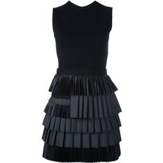 Dsquared2 tiered pleated dress ($1,775) ❤ liked on Polyvore featuring dresses, black, round neck sleeveless dress, short dresses, pleated cocktail dress, round neck dress and dsquared2