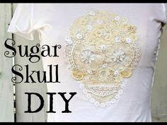 DIY Sugar Skull T- shirt from Vintage lace