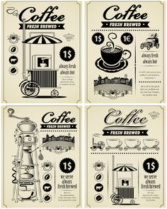 vintage graphics  | Set of 4 vector retro coffee brochures with vintage illustrations of ...