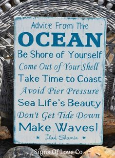 Beach Sign Advice From The Ocean Decor Wood Plaque Rustic Nautical House Plaque Beach House Decorations Accessories Wall Art Christmas Gift Beachy Love Coastal Living Life Summer Quotes Sayings Hand Painted #advice #ocean #sign #beach